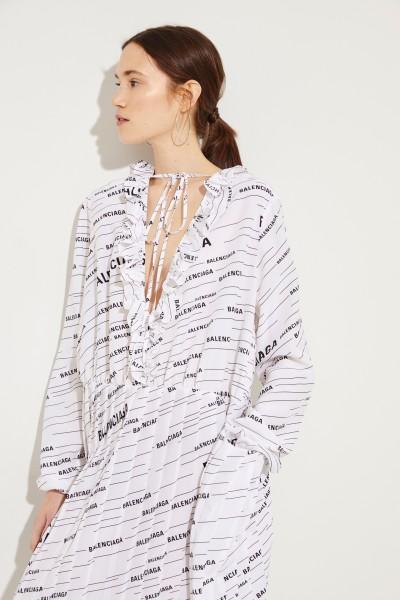 Balenciaga Silk-Dress with Plissee-Details White/Black