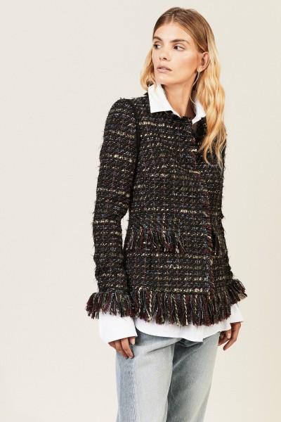 Tweed-Blazer mit Fransendetails Multi