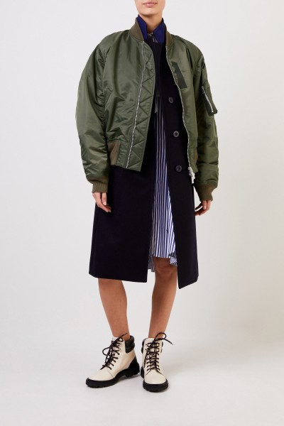 Coat with integrated bomber jacket navy blue/khaki