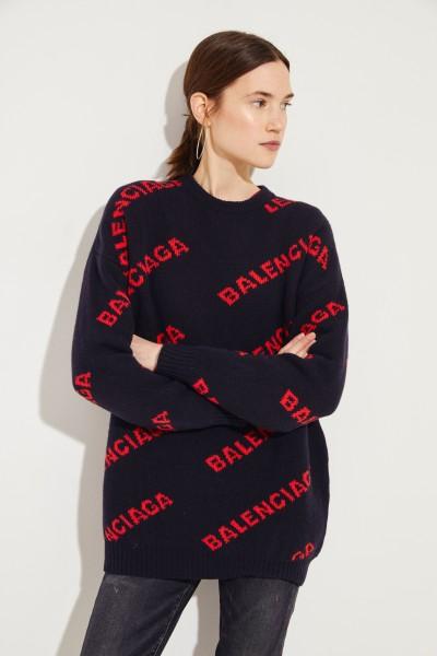 Oversize Wollpullover mit Schriftzug Schwarz/Rot