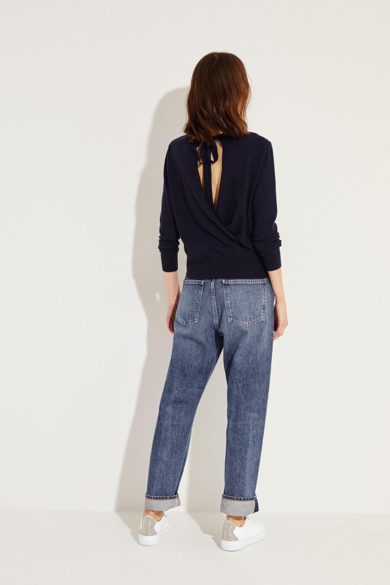 Cashmere-Pullover mit Schleifenverzierung Marineblau
