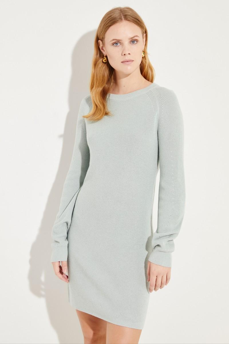 Seiden-Cashmere-Kleid Salbei