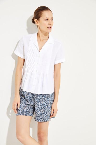 Leinen-Bluse mit Plissee-Details Weiß
