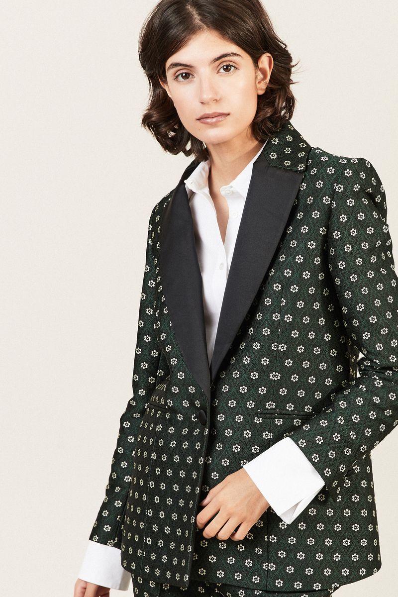 Blazer mit floralem Print Grün/Multi