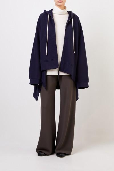 Ausgestellte Sweatshirtjacke mit Kapuze Marineblau