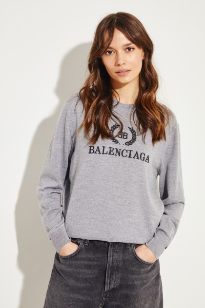 Leichter Pullover mit Logoschriftzug Grau