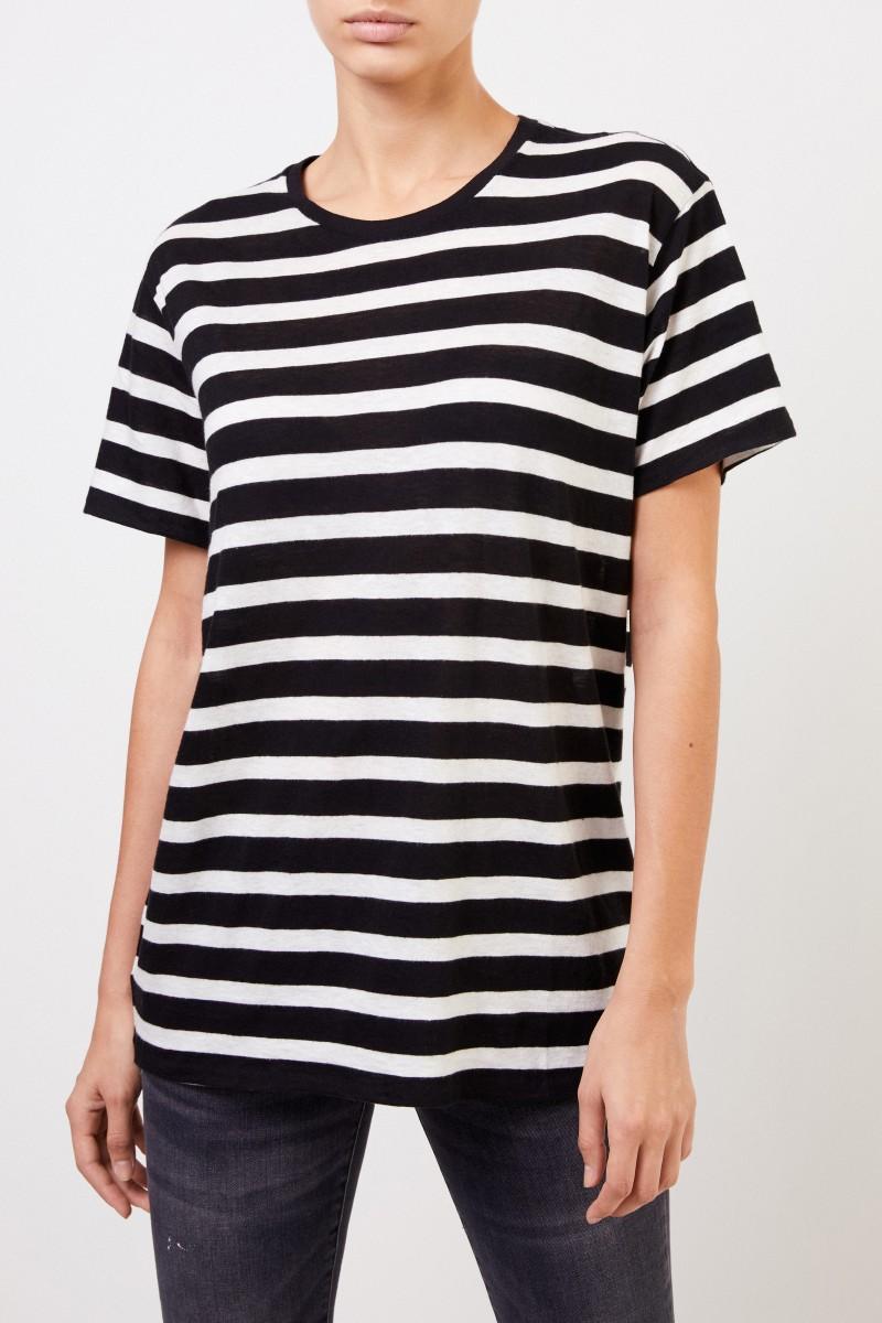 R13 Gestreiftes T-Shirt Schwarz/Weiß