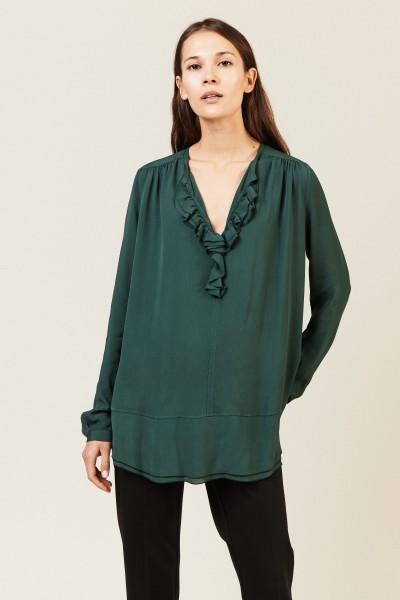Leichte Bluse mit Volant 'Pearl' Grün