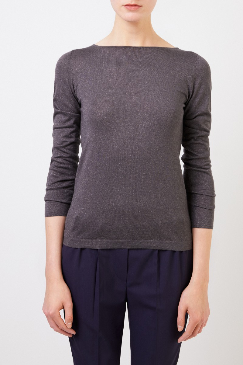 Brunello Cucinelli Feiner Alpaca-Pullover mit Lurexdetails Grau/Braun