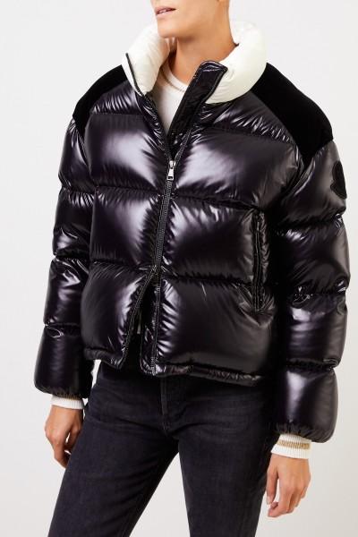 Moncler Short down jacket 'Chouelle' with velvet detail Black/Cream