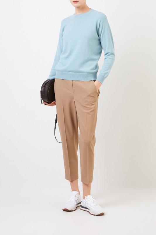 Brunello Cucinelli Klassische Woll-Hose mit Perlenverzierung Beige