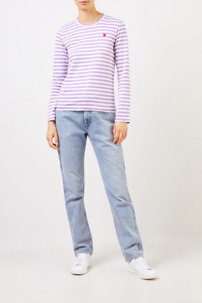 Comme des Garcons Play Striped Longsleeve Violet/White