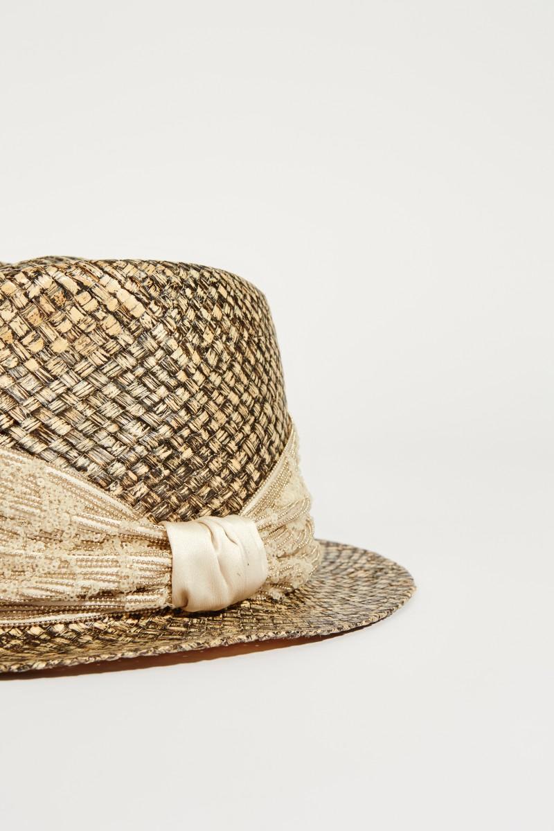 Hut mit Perlenverzerung Beige/Multi