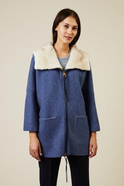 Kurze Cashmere-Jacke mit Nerzbesatz Blau