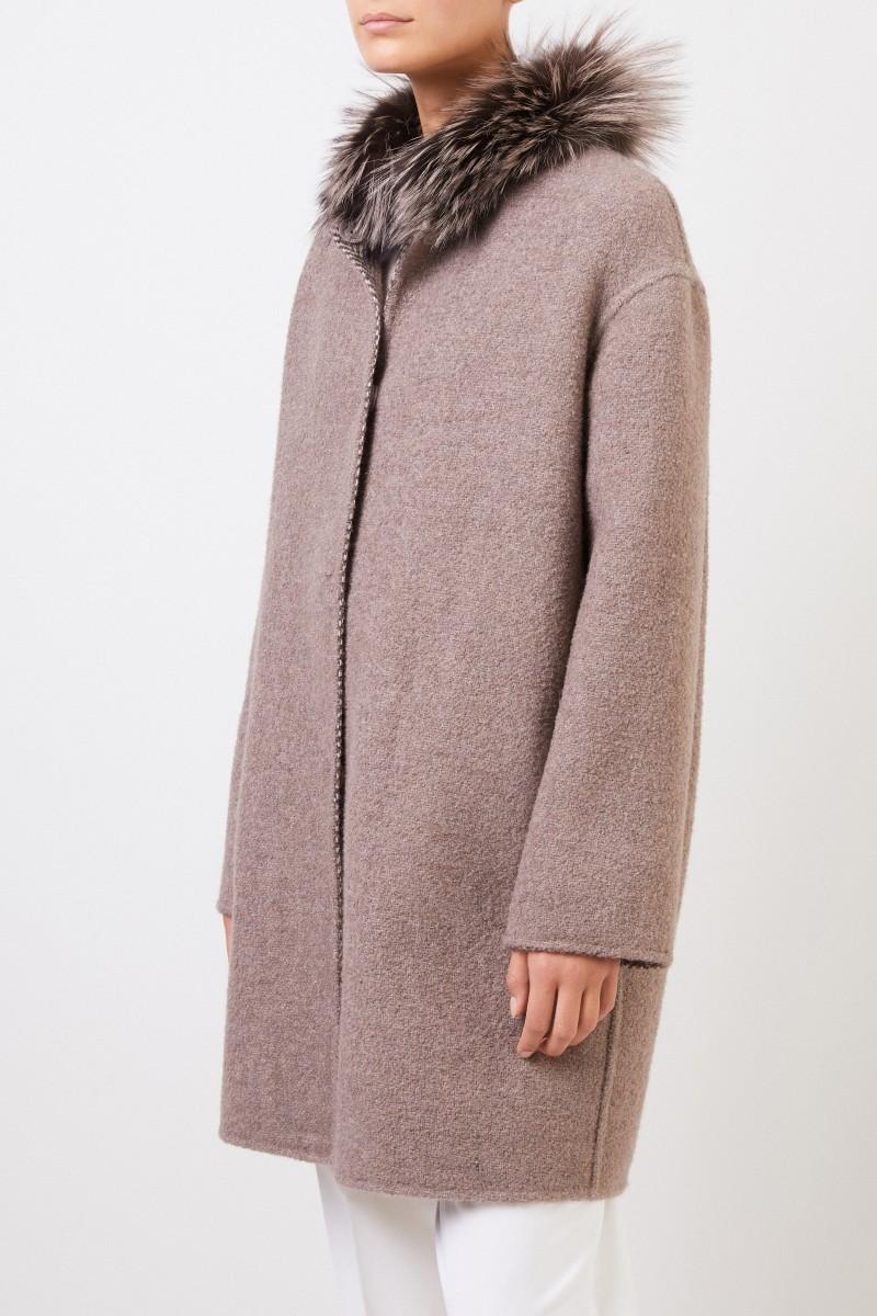 Manzoni 24 Wende-Alpaca-Woll-Mantel mit Fuchspelz Taupe/Beige
