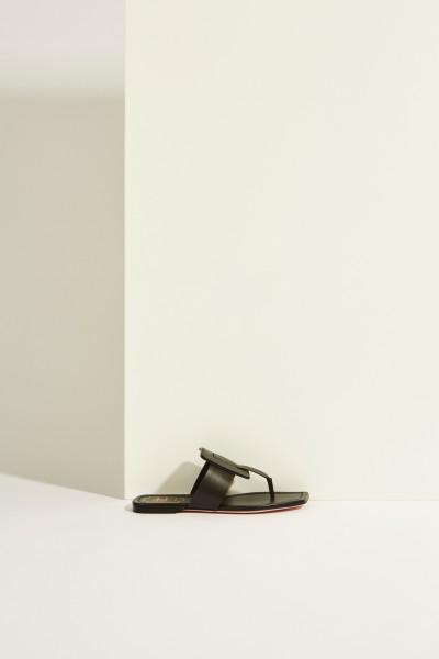 Leder-Sandale 'Viv Sellier Thong' Schwarz