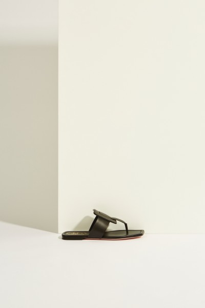 Leather Sandal 'Viv Sellier Thong' Black