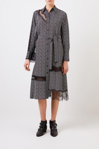 Silk shirt dress 'Claude' with lace details Multi