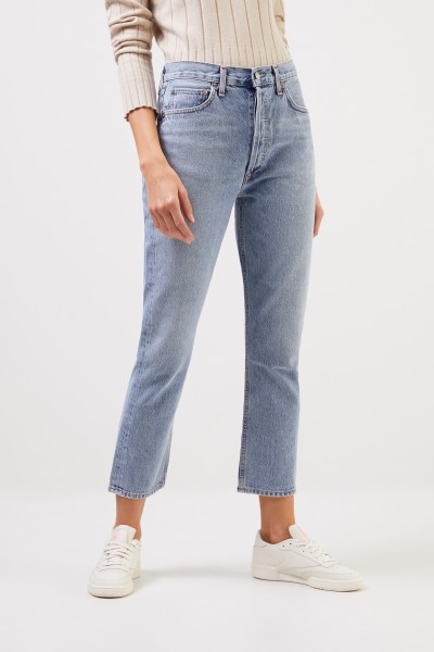 AGOLDE High Rise Crop Jeans 'Riley' Light Blue