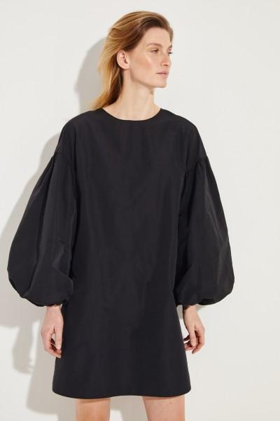 Baumwoll-Kleid mit Puffärmeln Schwarz