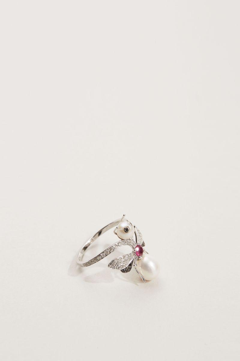 Ring mit Perlen und Diamanten 'Bee' 18K Weißgold