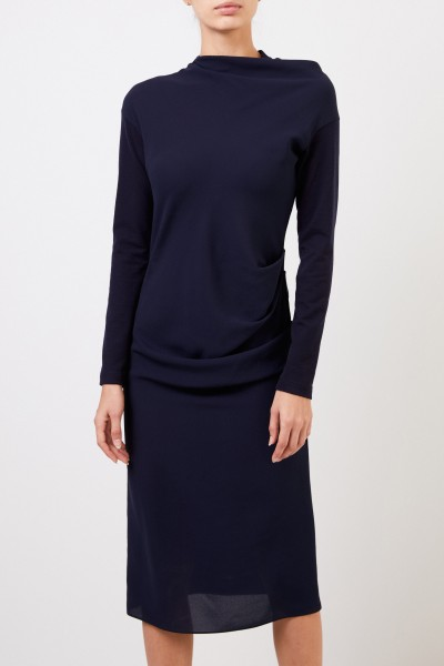 Brunello Cucinelli Midi wool dress with pleat details Navy Blue