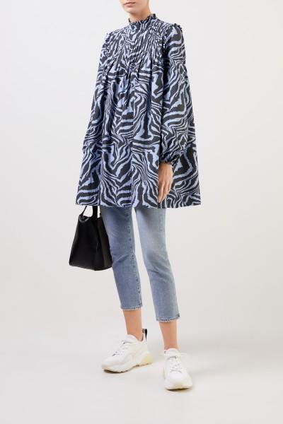 Ganni Baumwoll-Kleid mit Tigerprint Blau/Multi