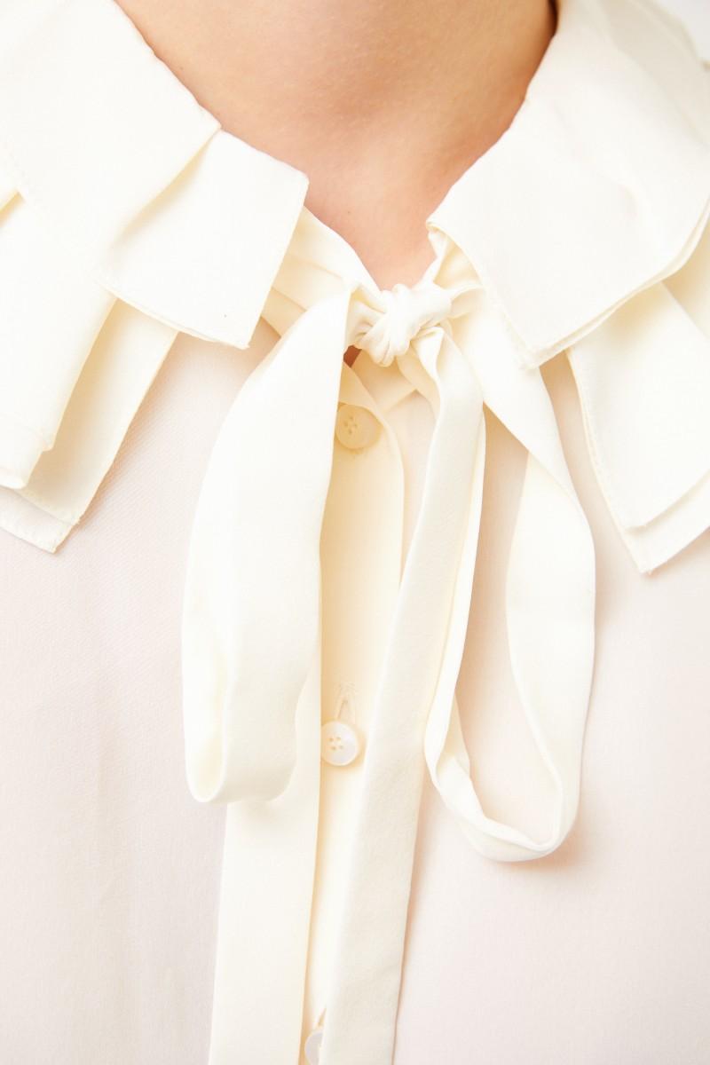 Chloé Seidenbluse mit Rüschenkragen Vanilla Ice
