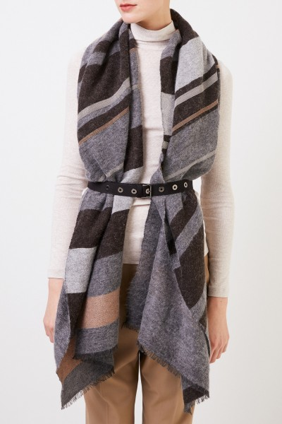 Brunello Cucinelli Cashmere scarf with belt Grey/Beige