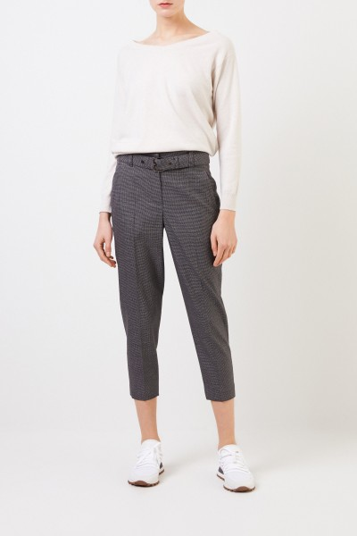 Brunello Cucinelli Wool pants with Glencheck pattern and belt Grey/Multi