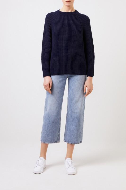 Iris von Arnim Rippstrick Cashmere-Pullover 'Francisca' Blau