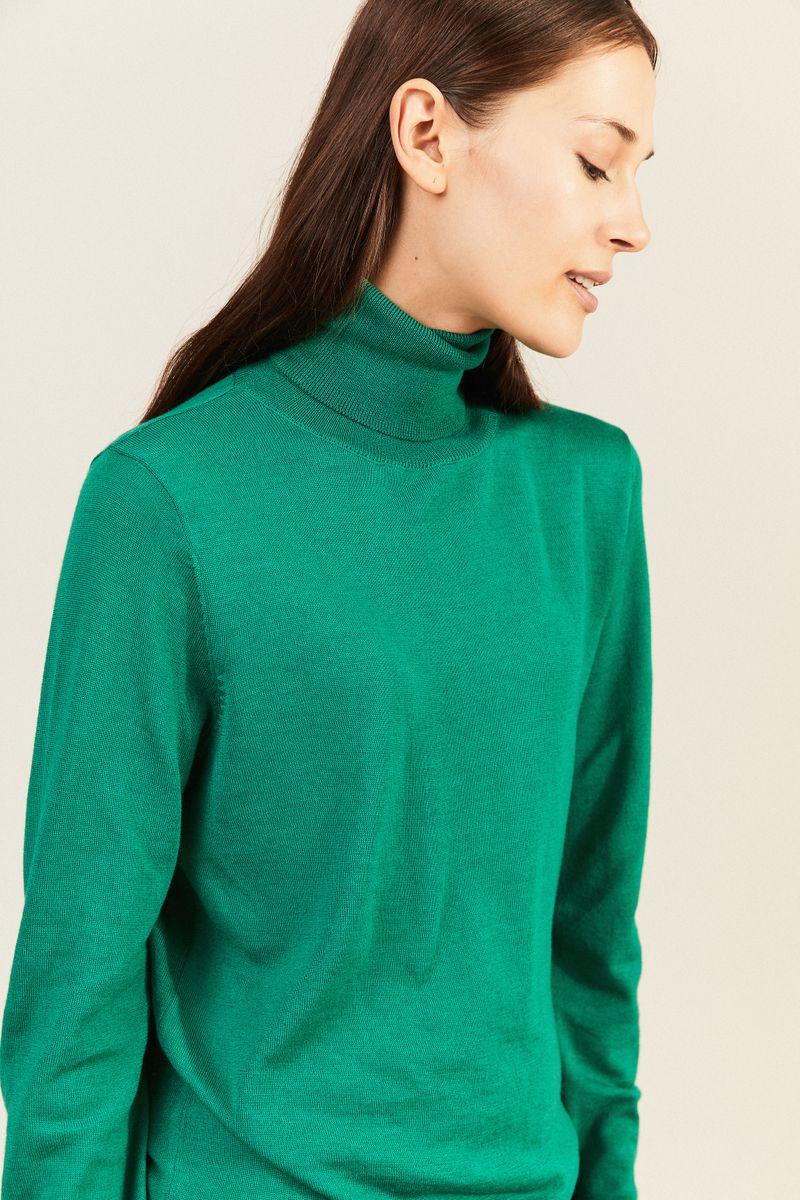 Woll-Rollkragenpullover Grün
