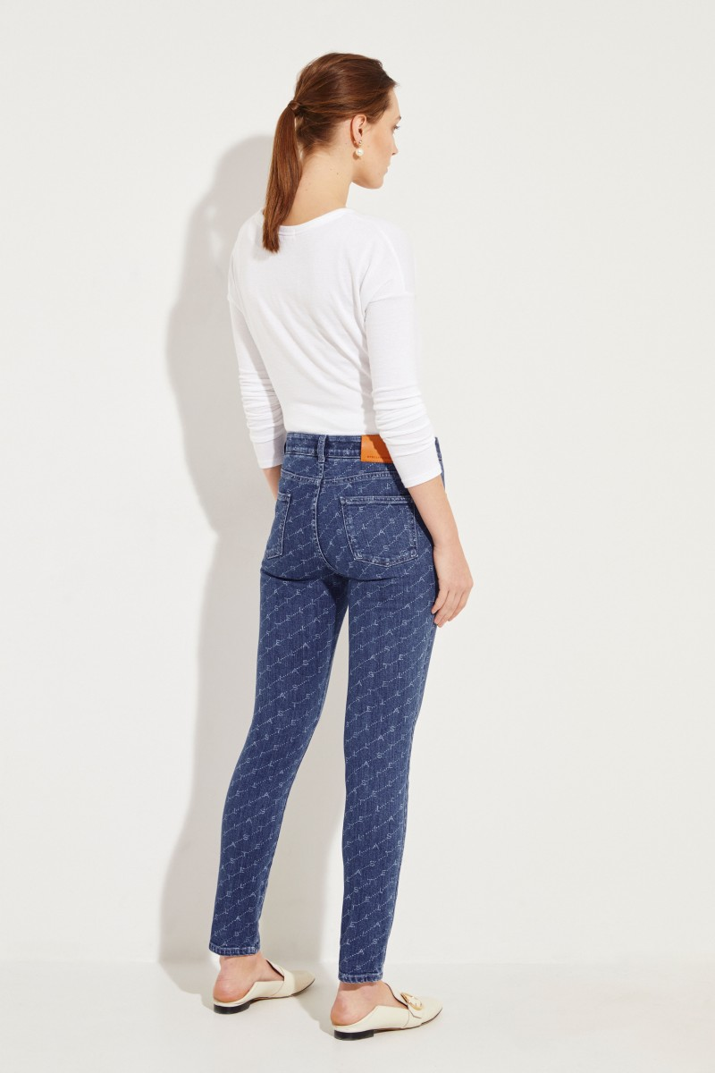 Skinny Jeans with Logo-Print Blue