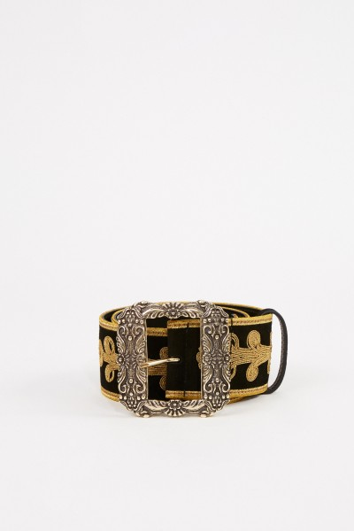 Embroidered belt with buckle Black/Gold