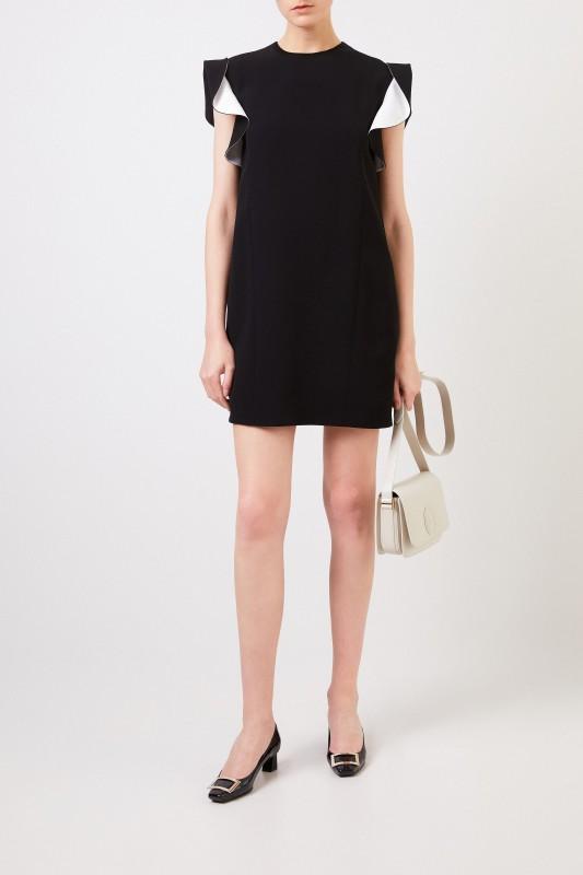 Givenchy Kurzes Kleid mit Volant-Ärmeln Schwarz/Weiß
