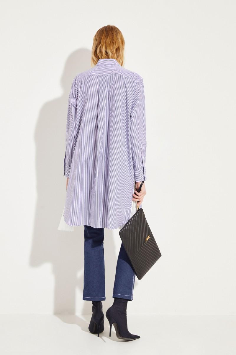 Gestreiftes Hemdblusenkleid mit Plissee-Details Blau/Weiß