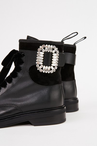 Roger Vivier Leather Boots 'Viv rangers Strass Buckle' Black