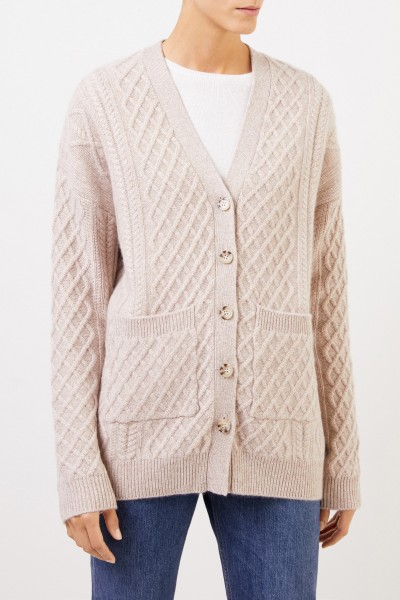 Uzwei Cashmere cardigan with cable stitch Beige
