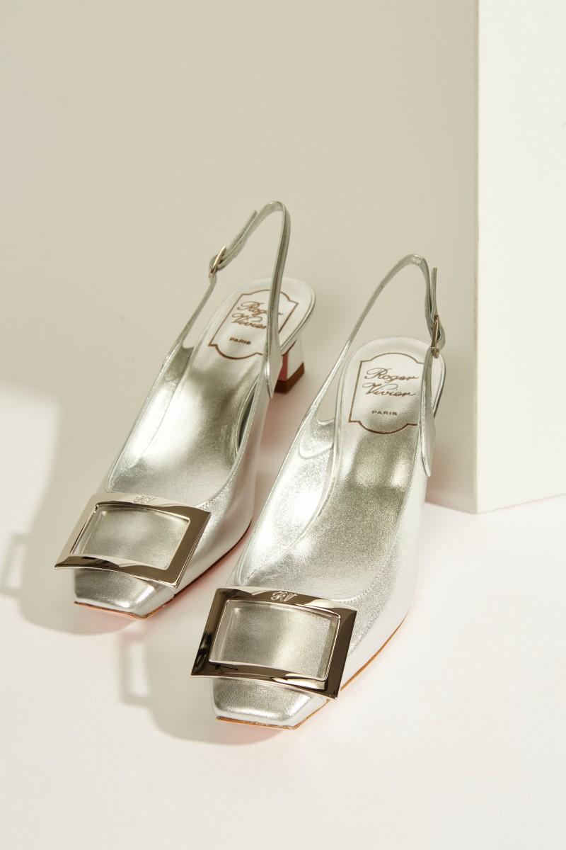 Leder-Pump 'Trompette Sling Back Cut' Silber