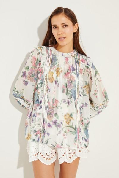 Zweiteilige Bluse mit Print Multi