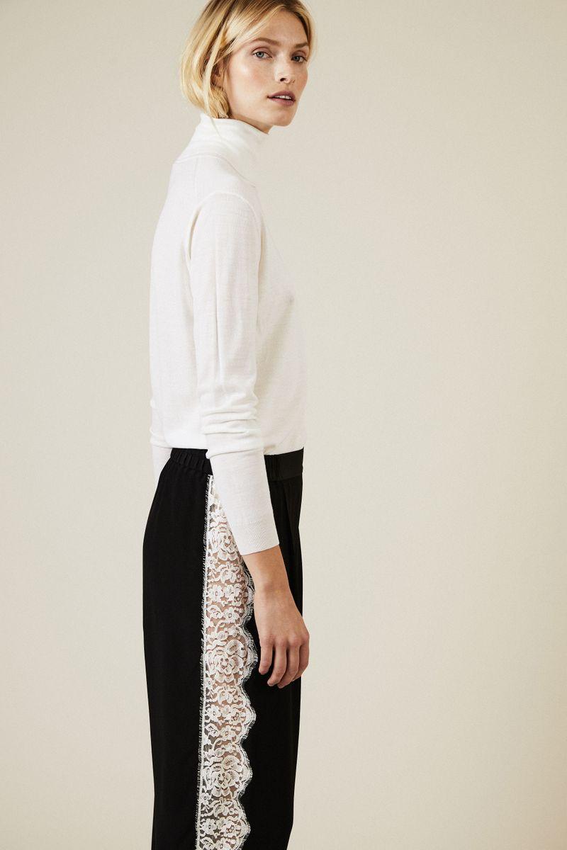 Seiden-Hose mit Spitzendetails Schwarz