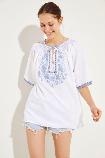 Bluse mit Stickerei 'Eva' Weiß/Blau