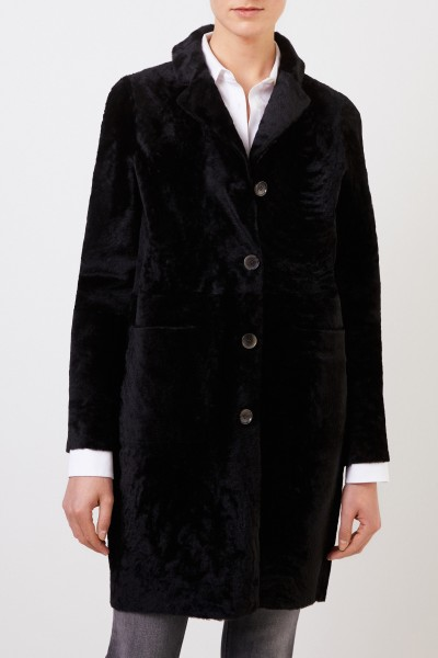 Benedetta Novi Reversible lambskin coat 'Serena Astracan' Black