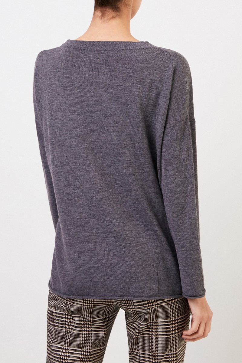 Allude Oversize Wollpullover Anthrazit