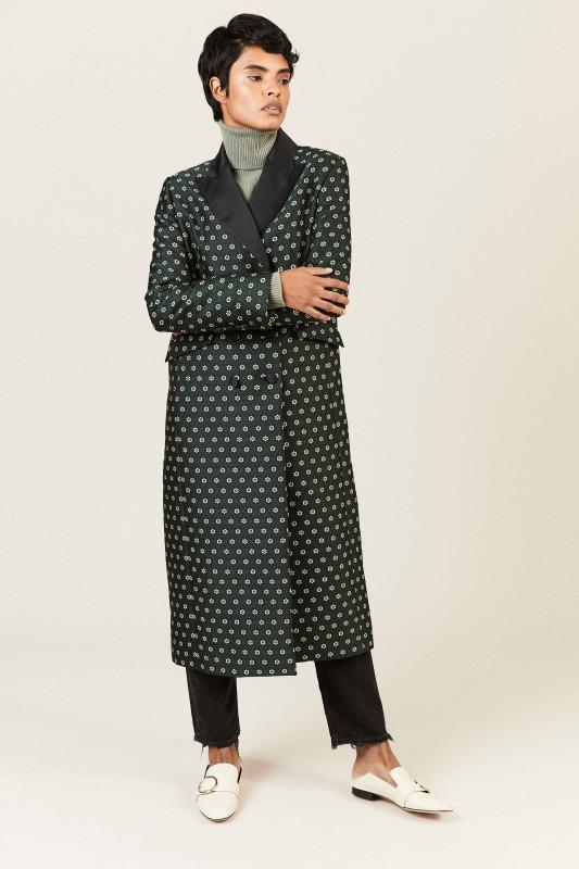 Mantel mit floralem Muster Grün/Multi