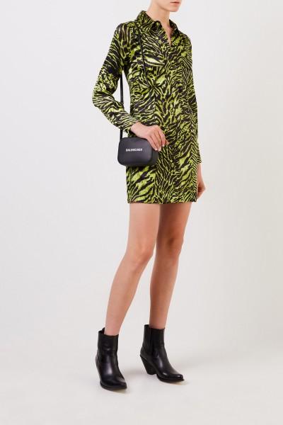 Silk shirt dress with tiger print Multi