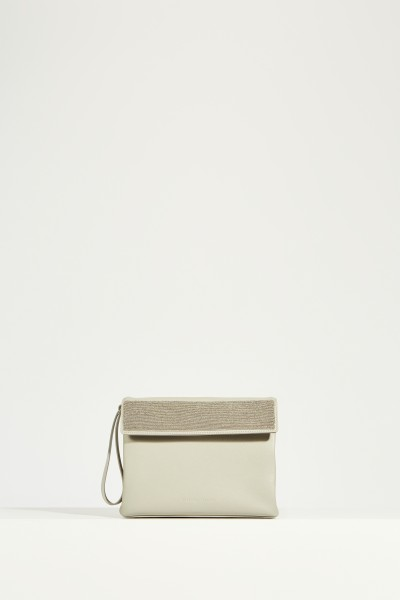 Shoulder bag with pearl decoration Grey