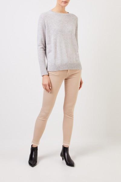 Allude Cashmere-Pullover mit Schlitzen Hellgrau