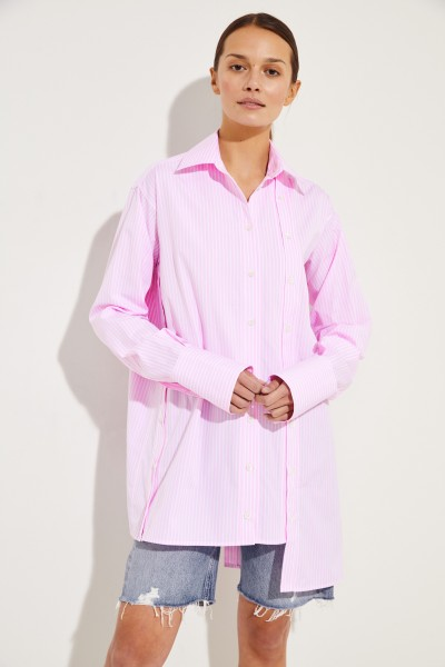 Gestreifte Bluse mit Knopfdetails Rosé/Weiß