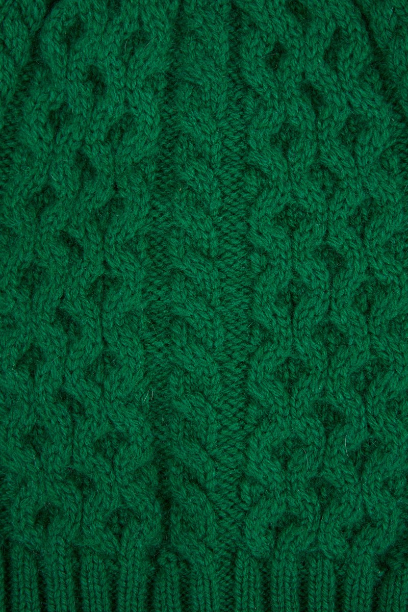 UZWEI Cashmere-Mütze mit Zopfmuster Grün
